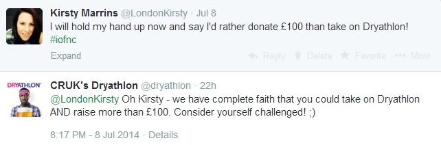 Tweet from Dryathlon